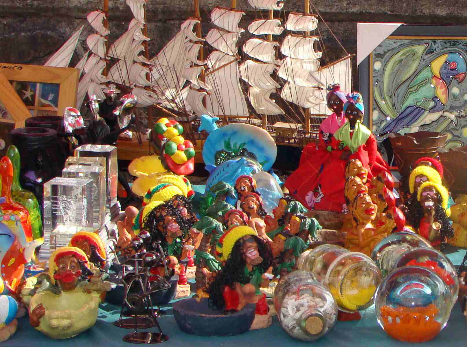 Cheap merchandise is on display for free-spending tourists.