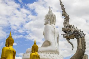 Buddha and Serpent Statue in Pai