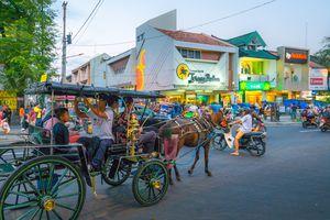 Horsecarts along Jalan Malioboro, Yogyakarta, Indonesia