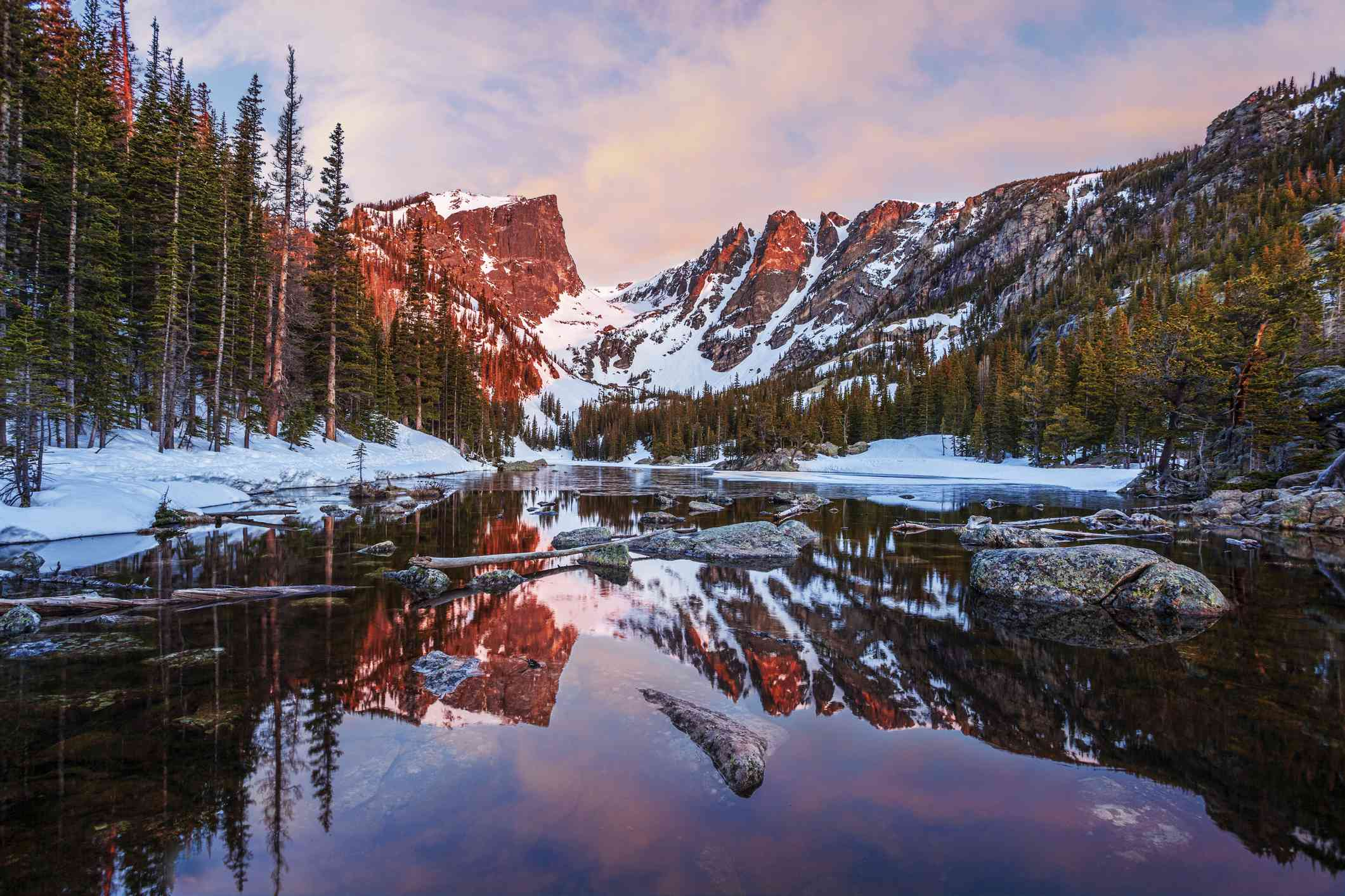 Dream Lake in Rocky Mountain National Park in winter