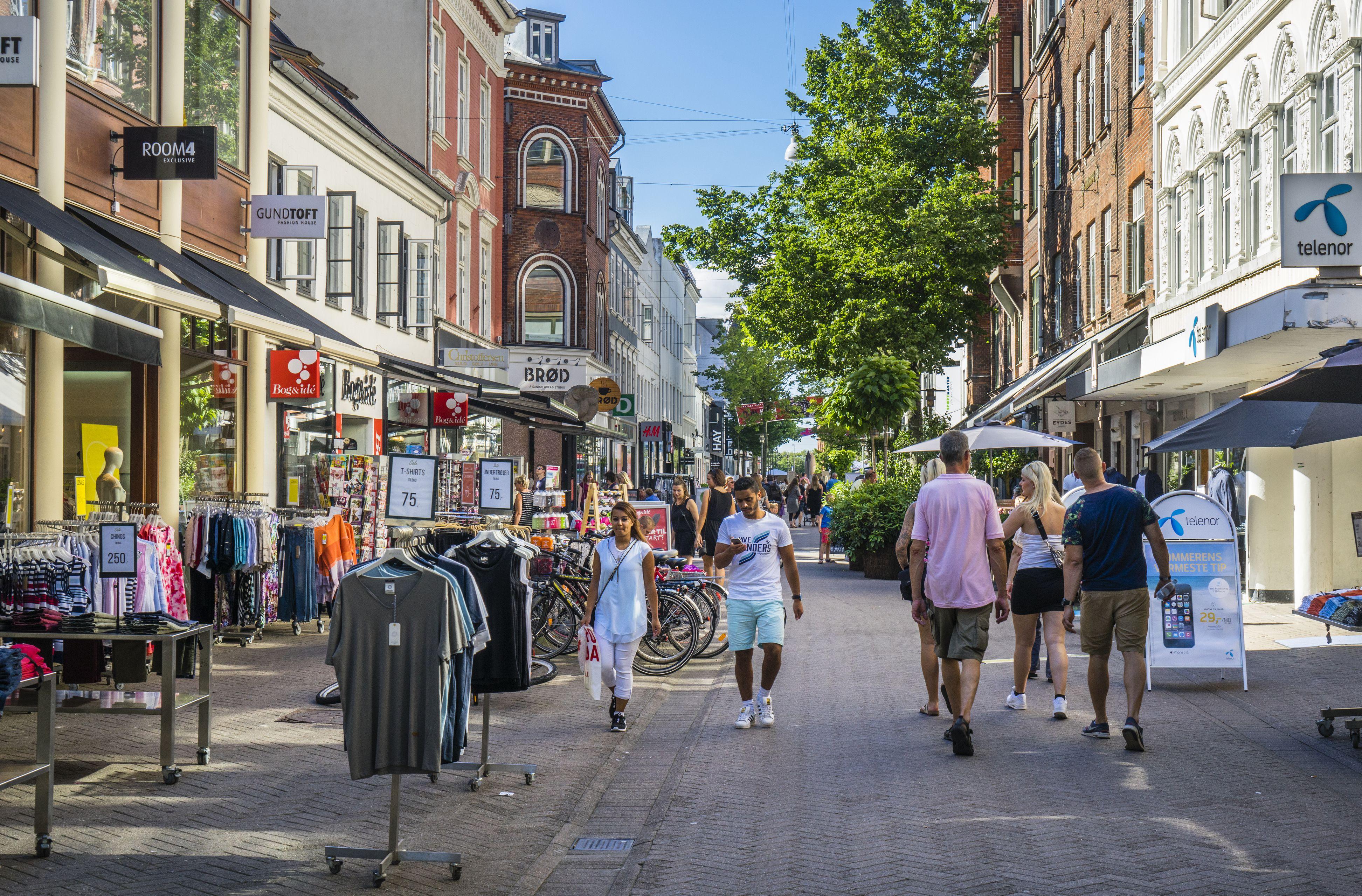 Vestergade pedestrian shopping mall Odense