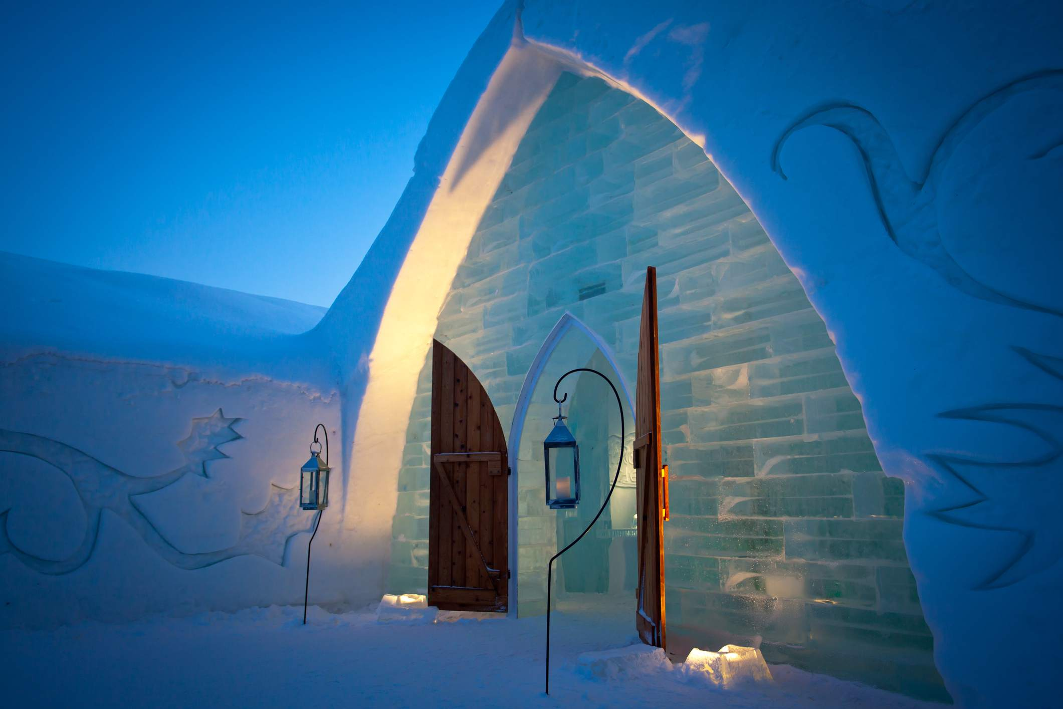 Quebec City Ice Hotel (Hotel de Glace) at Dusk, Canada