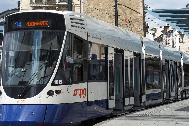 Tram heading to Geneva, Switzerland