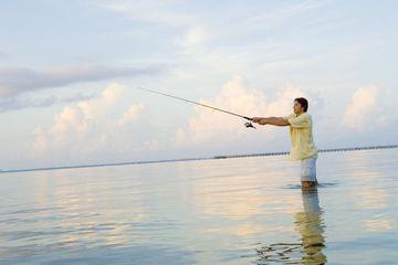 Man Fishing at Galveston Bay Texas