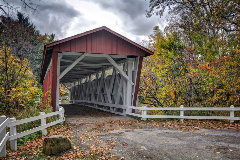 The Everett Road Covered Bridge in Peninsula, Ohio