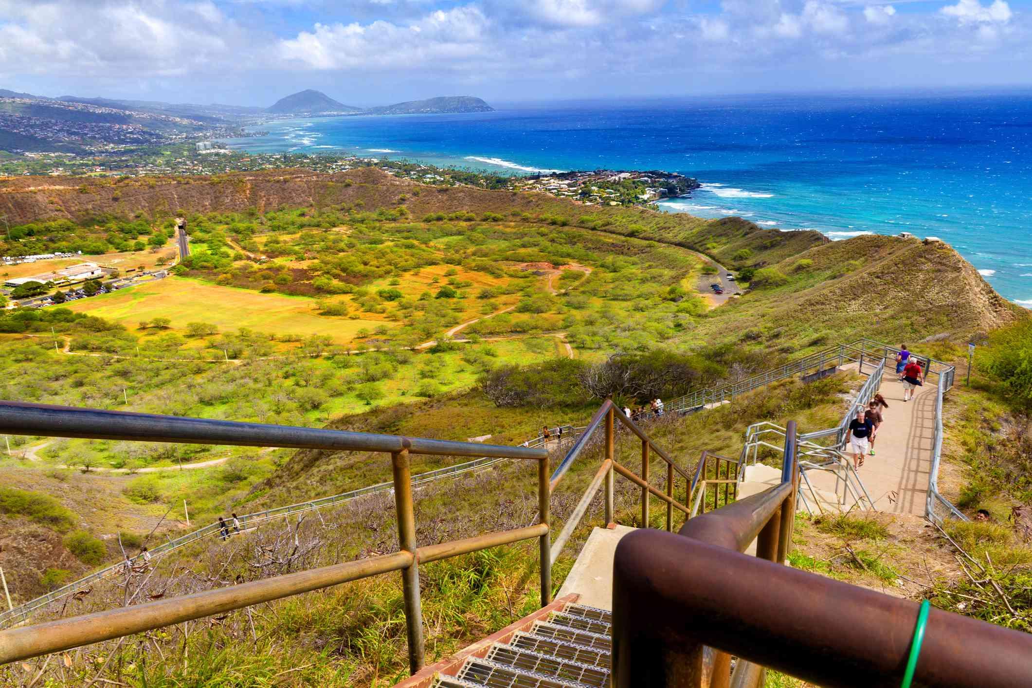 Crowded trail to Diamond Head summit, Honolulu