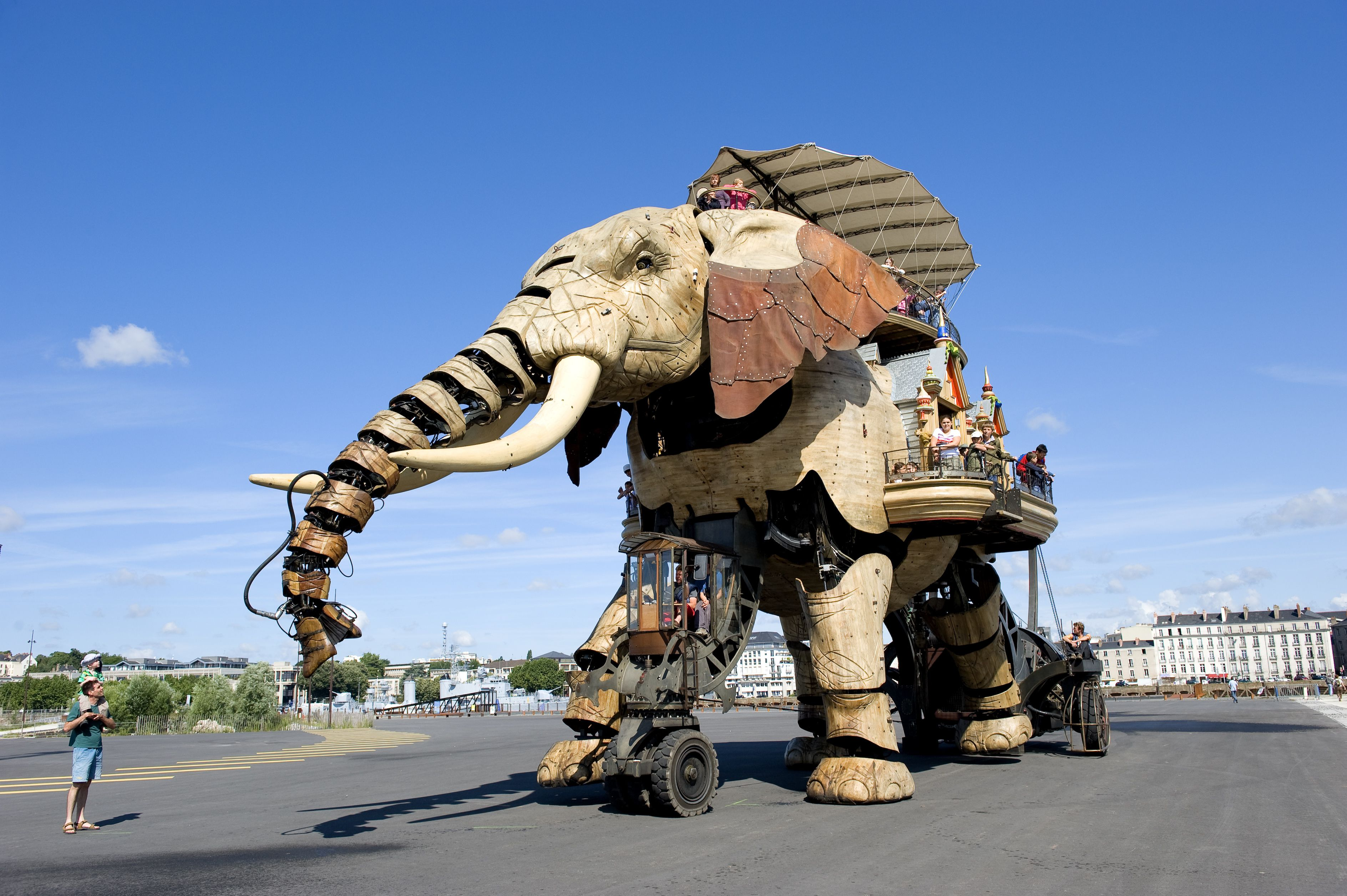 France, Loire Atlantique, Nantes, Ile de Nantes, Les Machines de l'Ile (the Machines of the Island) in warehouses of the former shipyards, artistic project conceived by Francois Delaroziere and Pierre Orefice, the elephant, automaton
