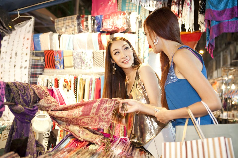 Fashionable young women shopping on Hong Kong's Temple Street
