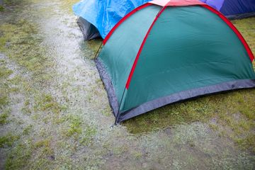 camping tent on we grass
