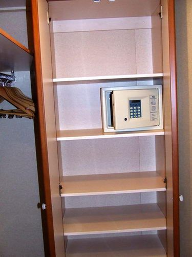 Shelves and Safe in Emerald Princess Cabin Emerald Princess Cabins - Mini Suite D208 on Dolphin Deck 9