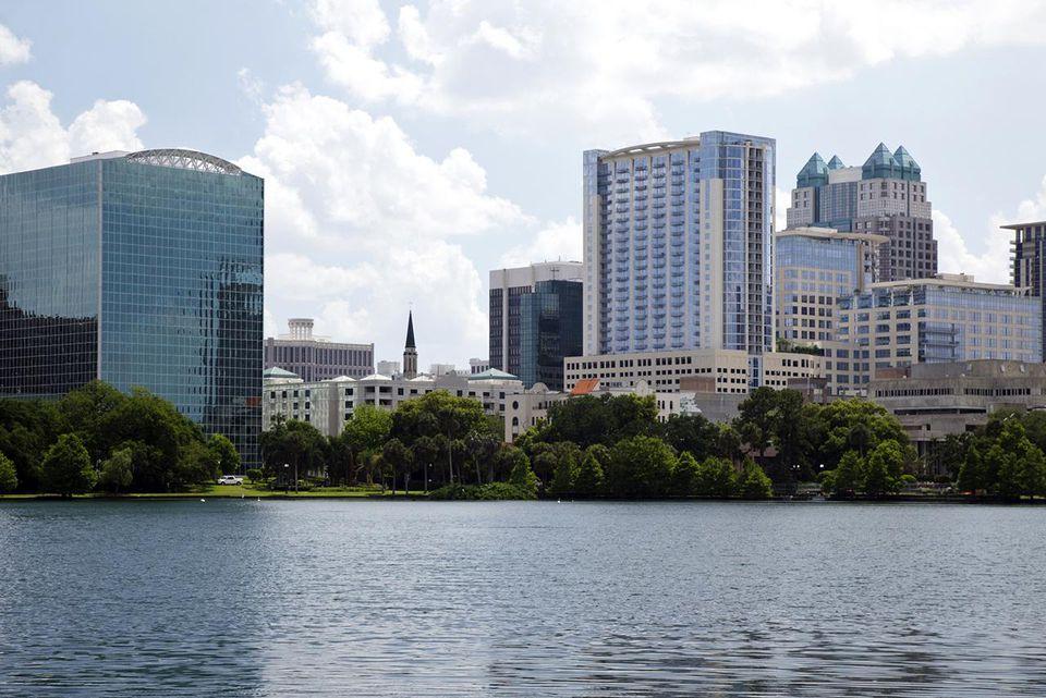 Downtown Orlando reflecting in Lake Eola