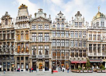 Colorful buildings in Brussels, Belgium