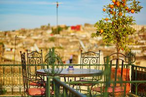 View of a table at a rooftop restaurant in Fez, Morocco