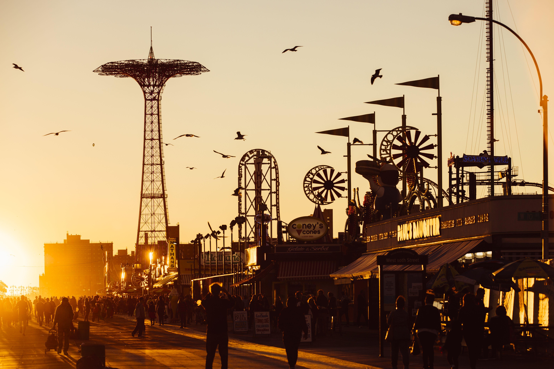 The Coney Island Boardwalk at sunset, Brighton Beach, Brooklyn, New York City, NY, USA