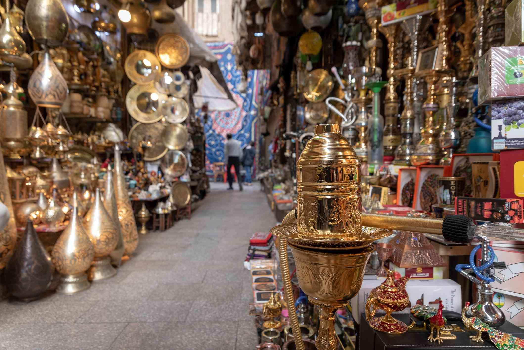 Shops in Khan el-Khalili in Cairo, Egypt