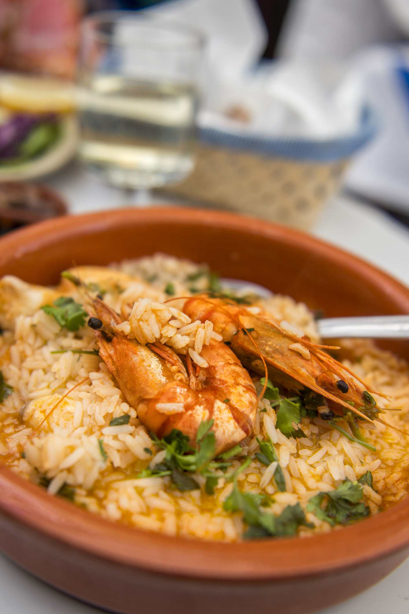 Close-up of shrimp and rice stew, Portugal