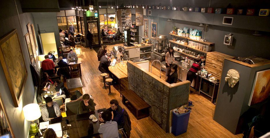 overhead shot of the Wormhole cafe