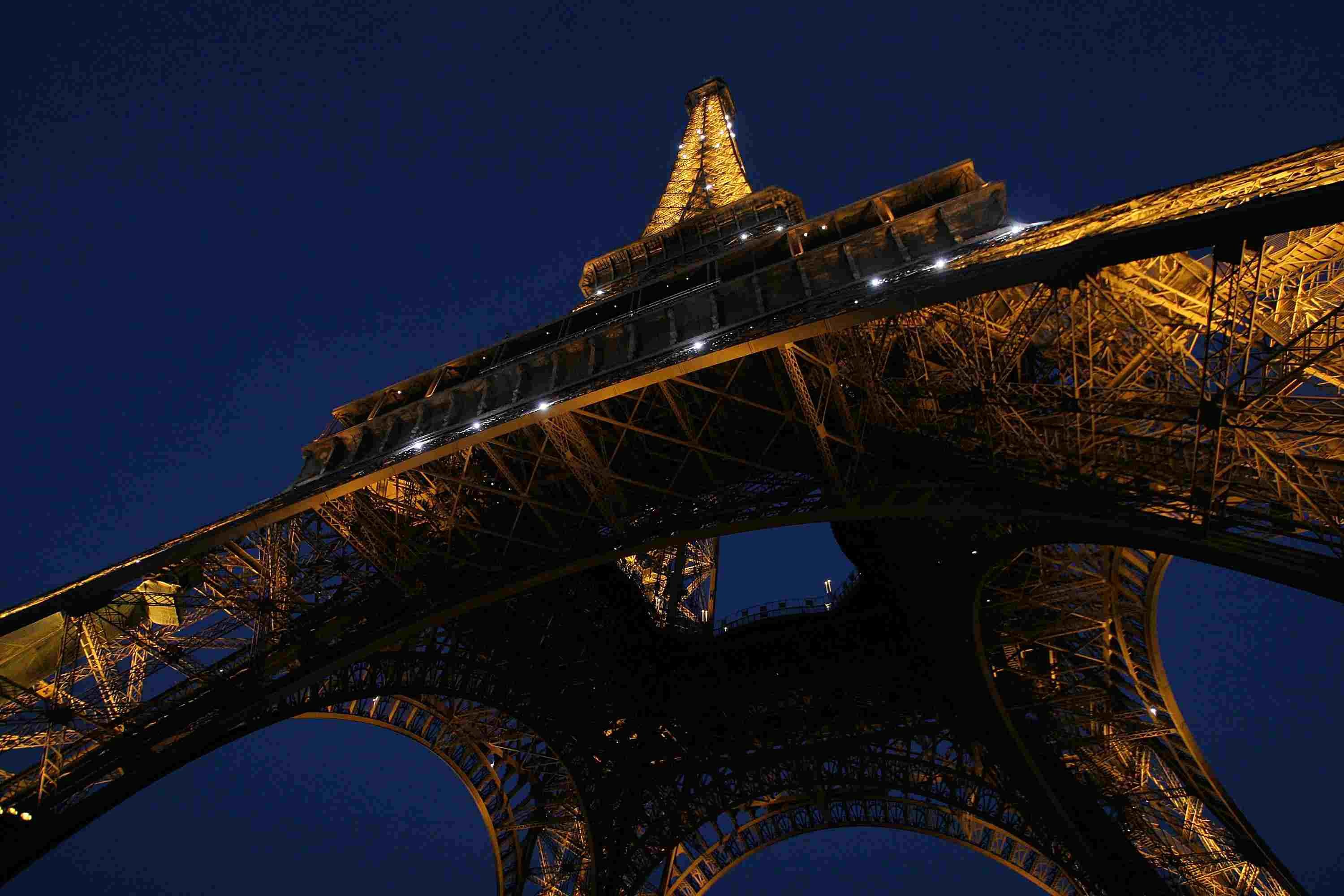 The Eiffel Tower shot from below