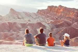 Family at sunset, Zabriskie Point, Death Valley