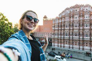 Tourist at Hawa Mahal, Jaipur.