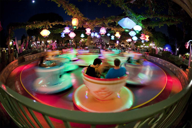 mad tea party ride at night at disneyland