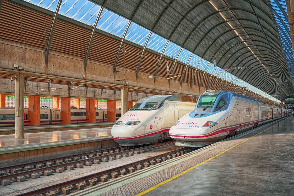 Modern hi-speed passenger train at Sevilla Santa Justa