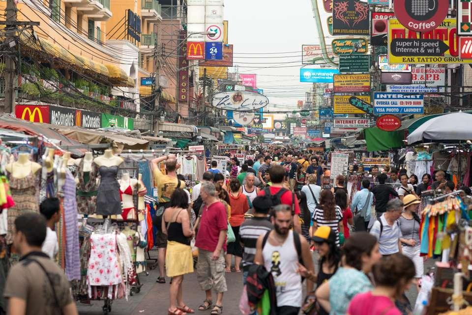 Backpackers on Khao San Road in Bangkok