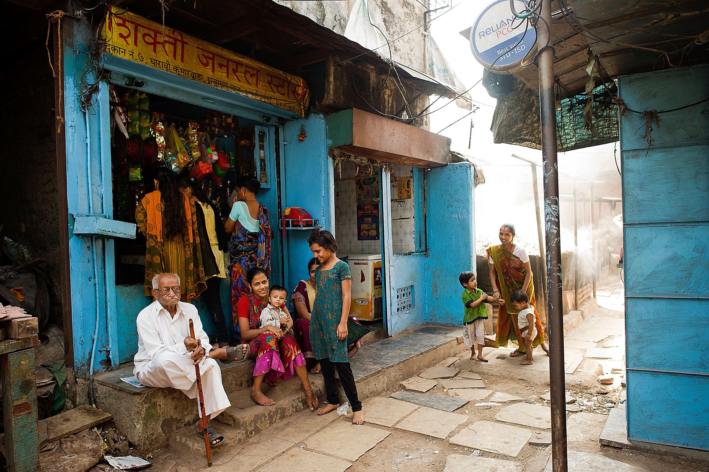 Daily life in Dharavi slum, Mumbai.