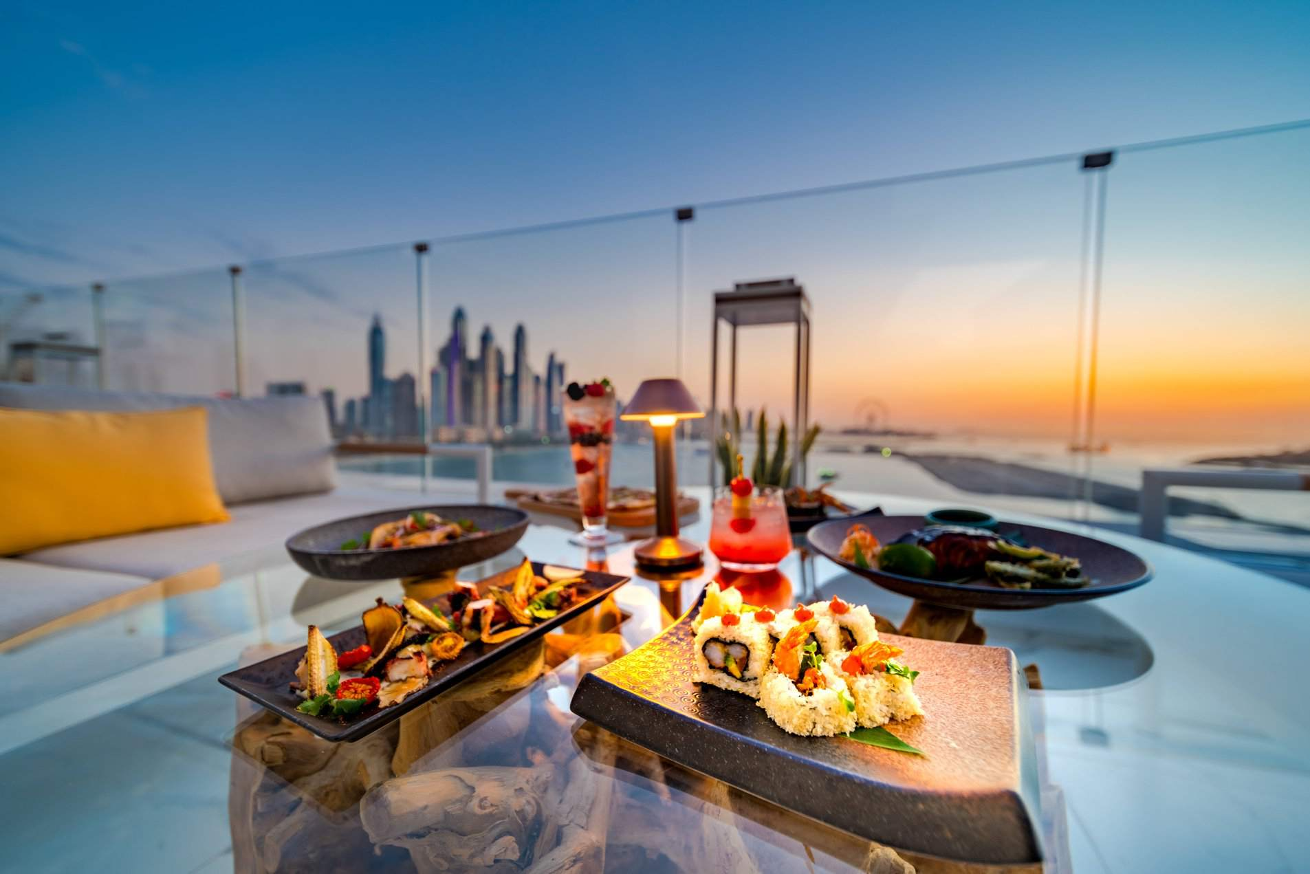 Sushi and drinks at sunset, the penthouse, dubai