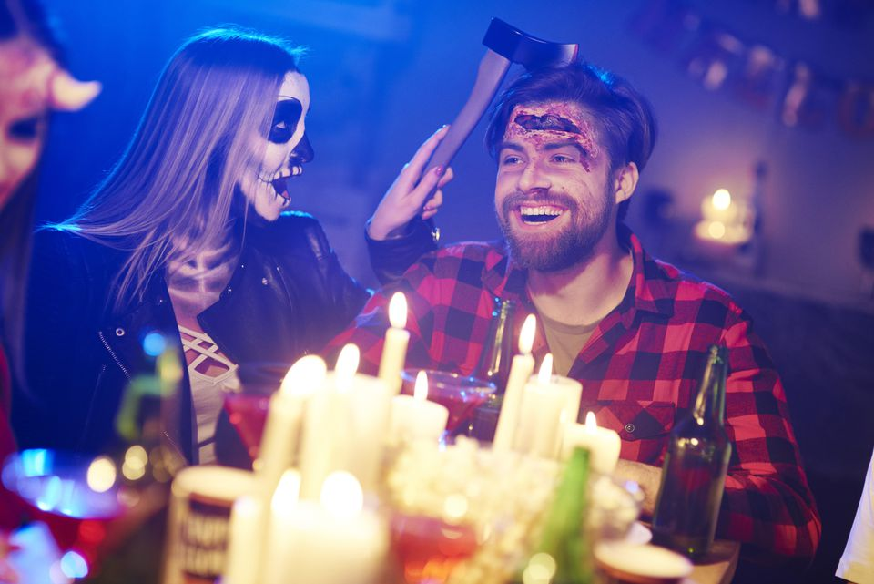 Couple dressed up at a Halloween party