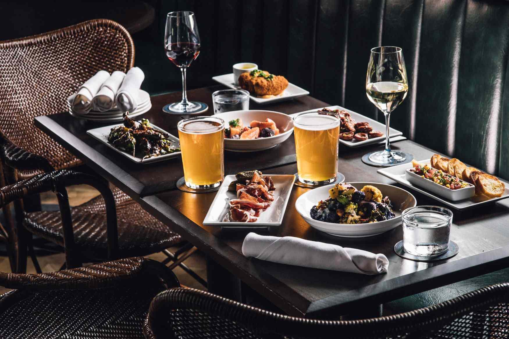 dinner spread at Blacktial restaurant