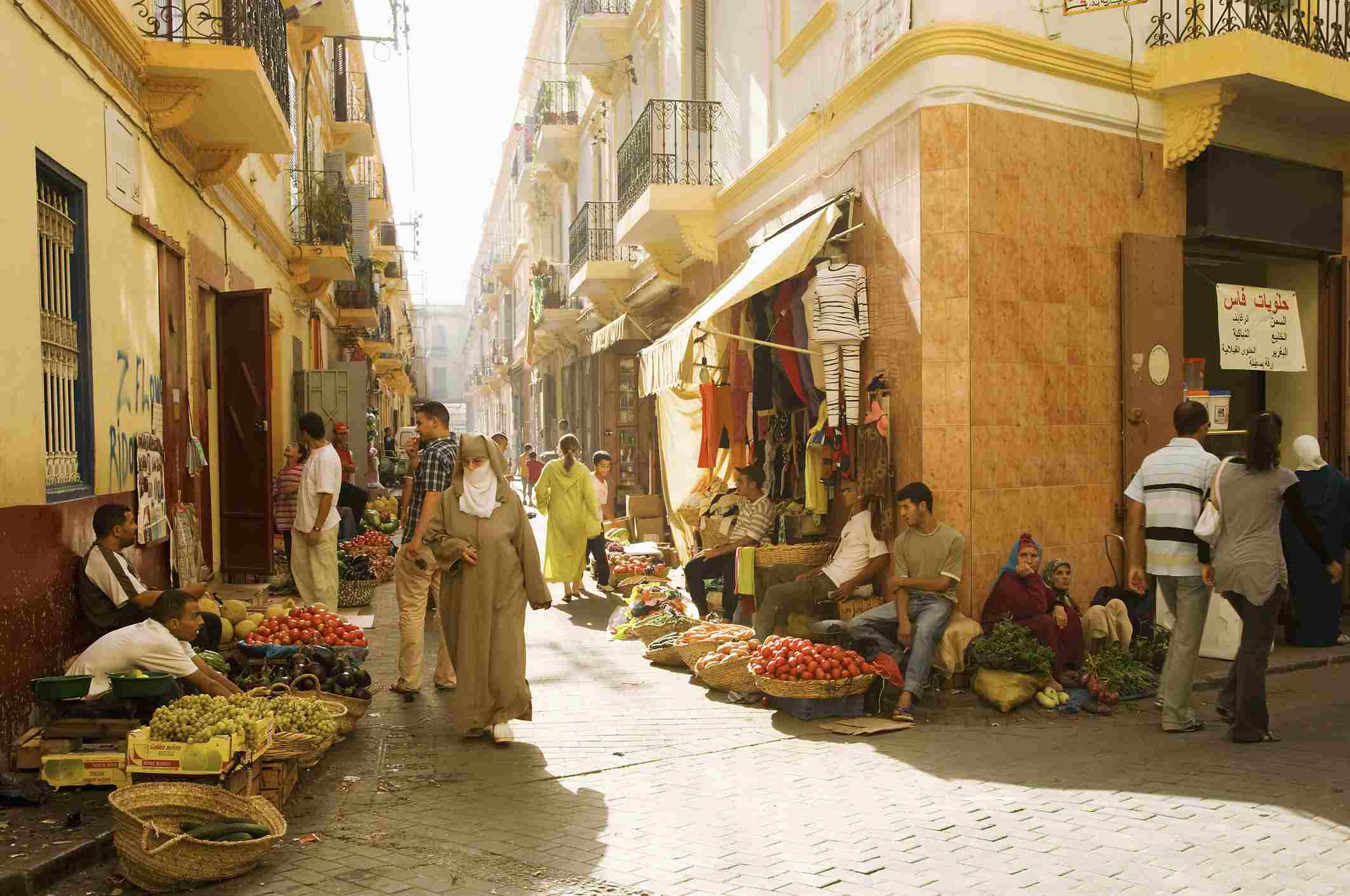 People on street of Tangier, Morocco