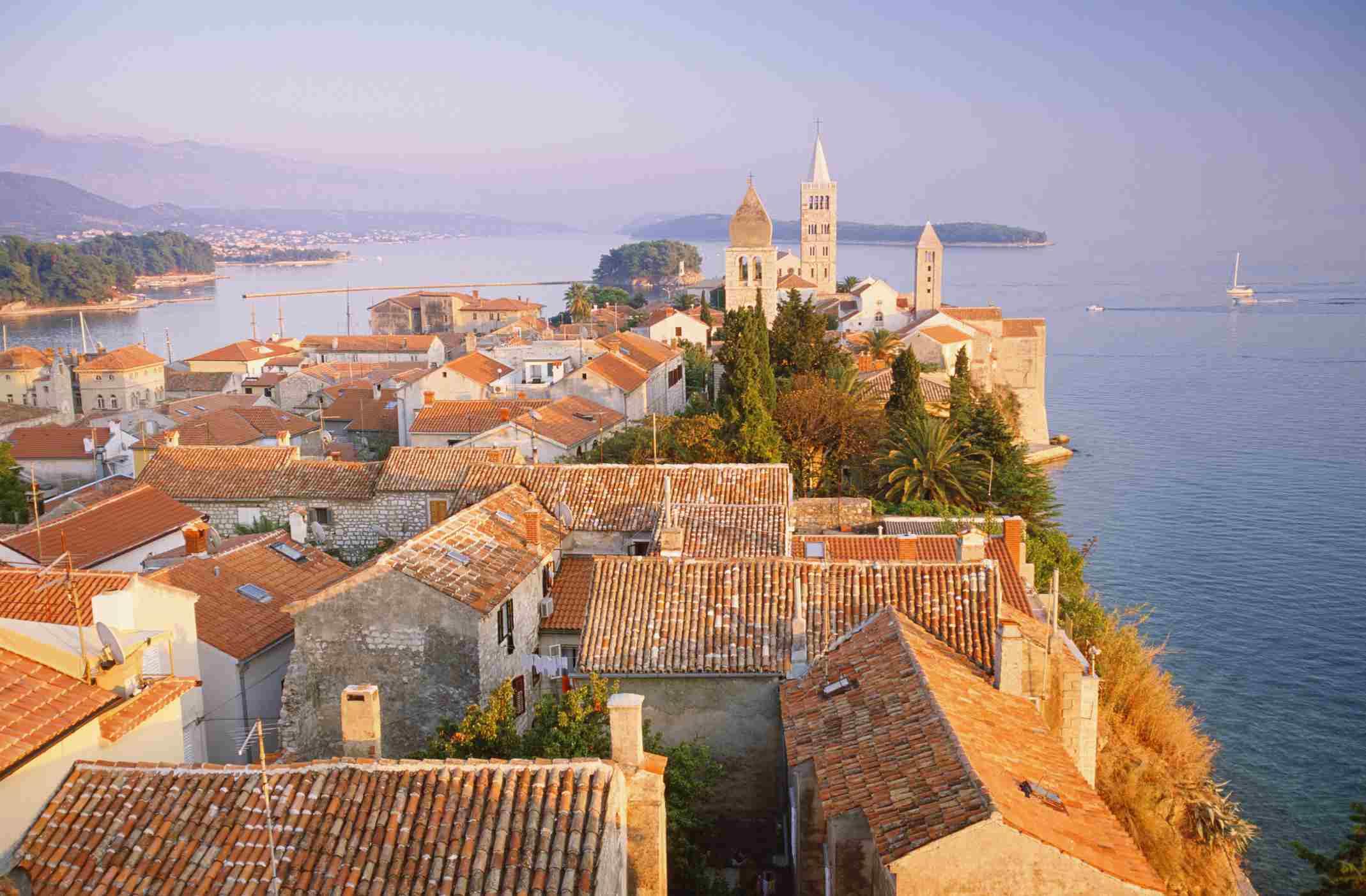 Croatia, Island of Rab, elevated view