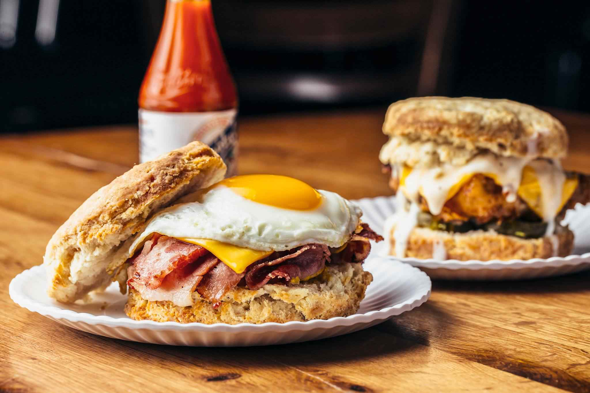 Biscuit sandwiches at Bub City