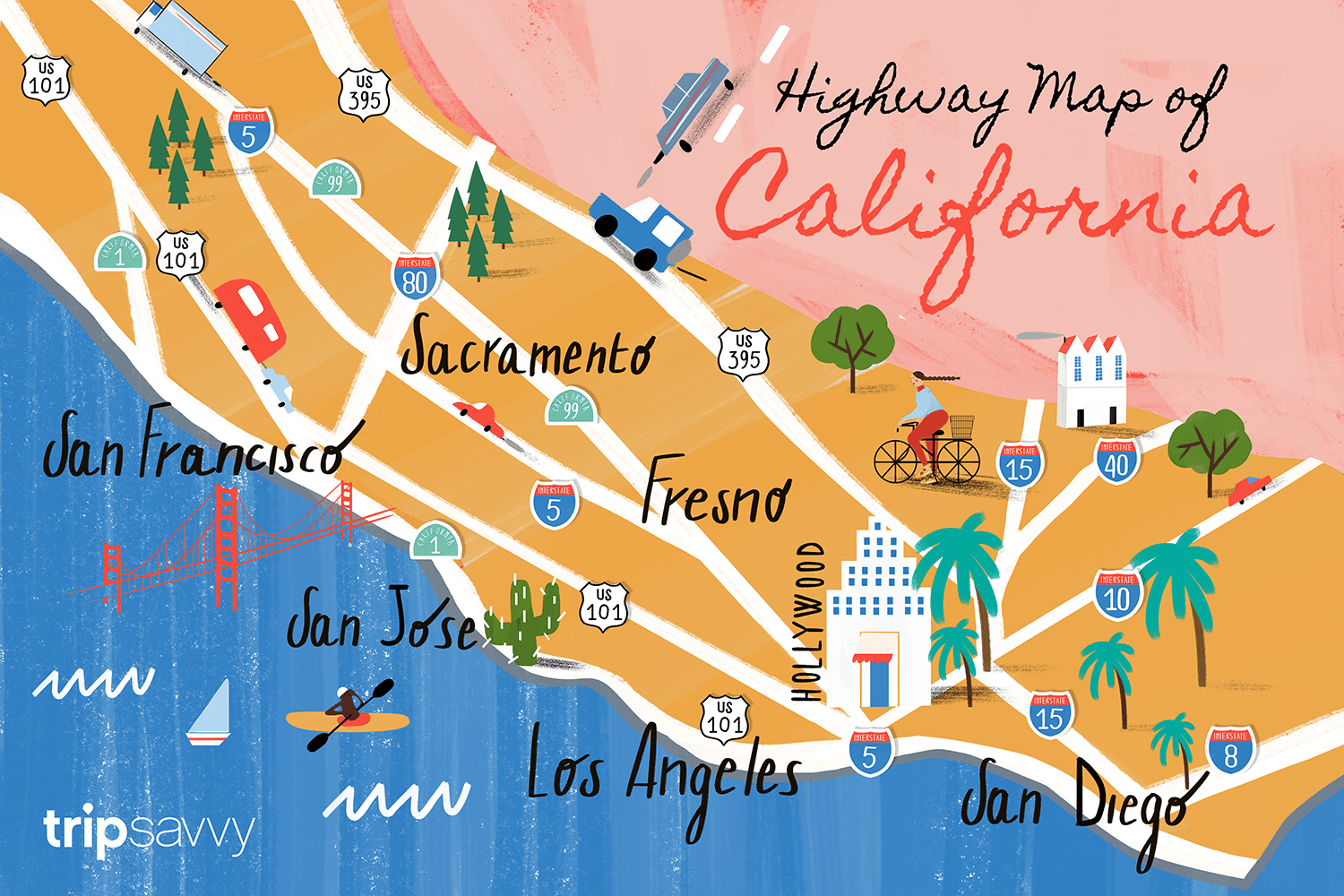 California Road Map Highways And Major Routes