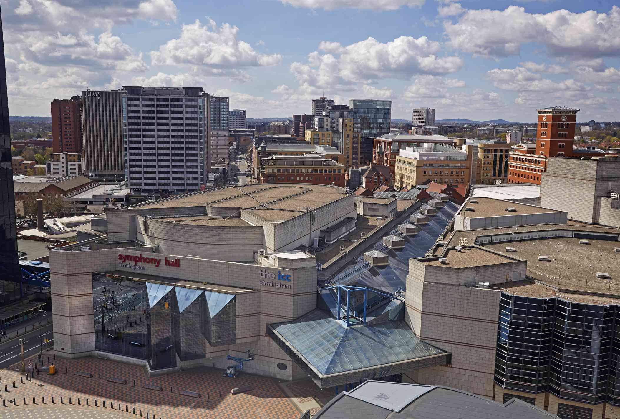 A view of Birmingham's Symphony Hall and theater