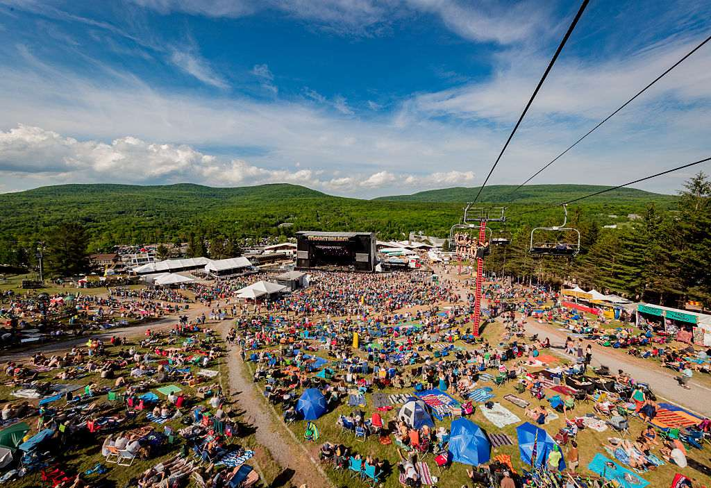 Aerial view of stage and crowd during Mountain Jam at Hunter Mountain