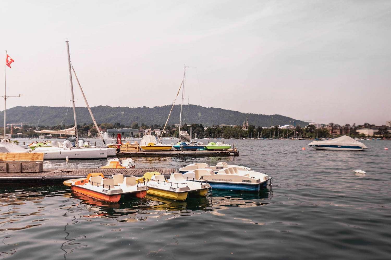 Boats on Lake Zurich, Switzerland