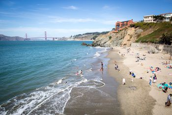 China Beach In San Francisco With The Golden Gate Bridge Background