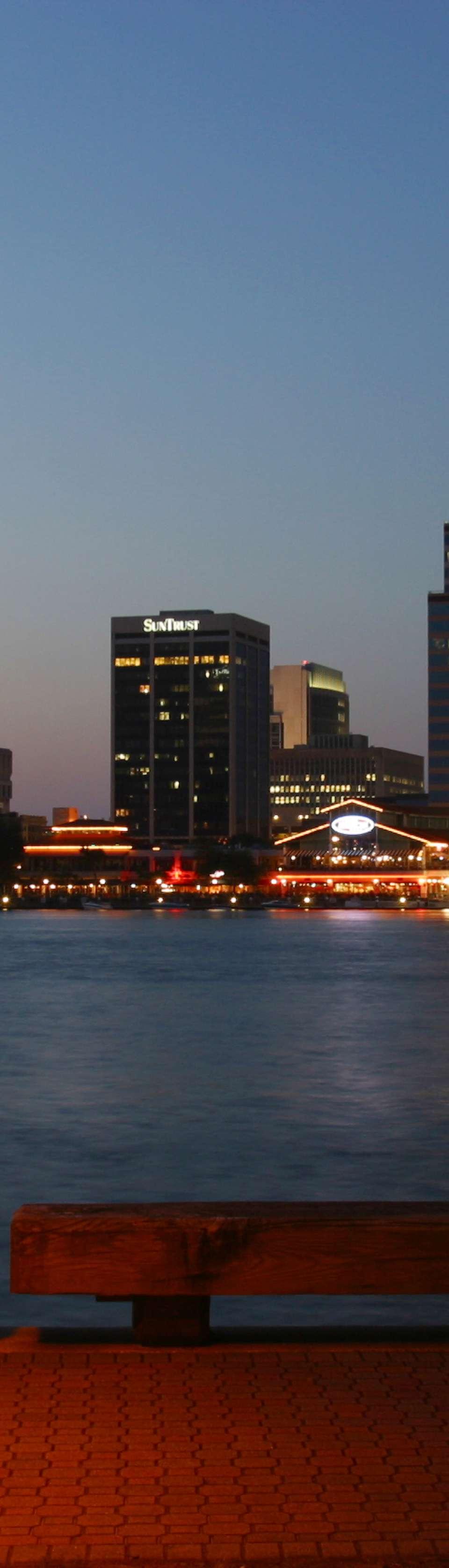 Downtown Jacksonville's Southbank skyline at dusk