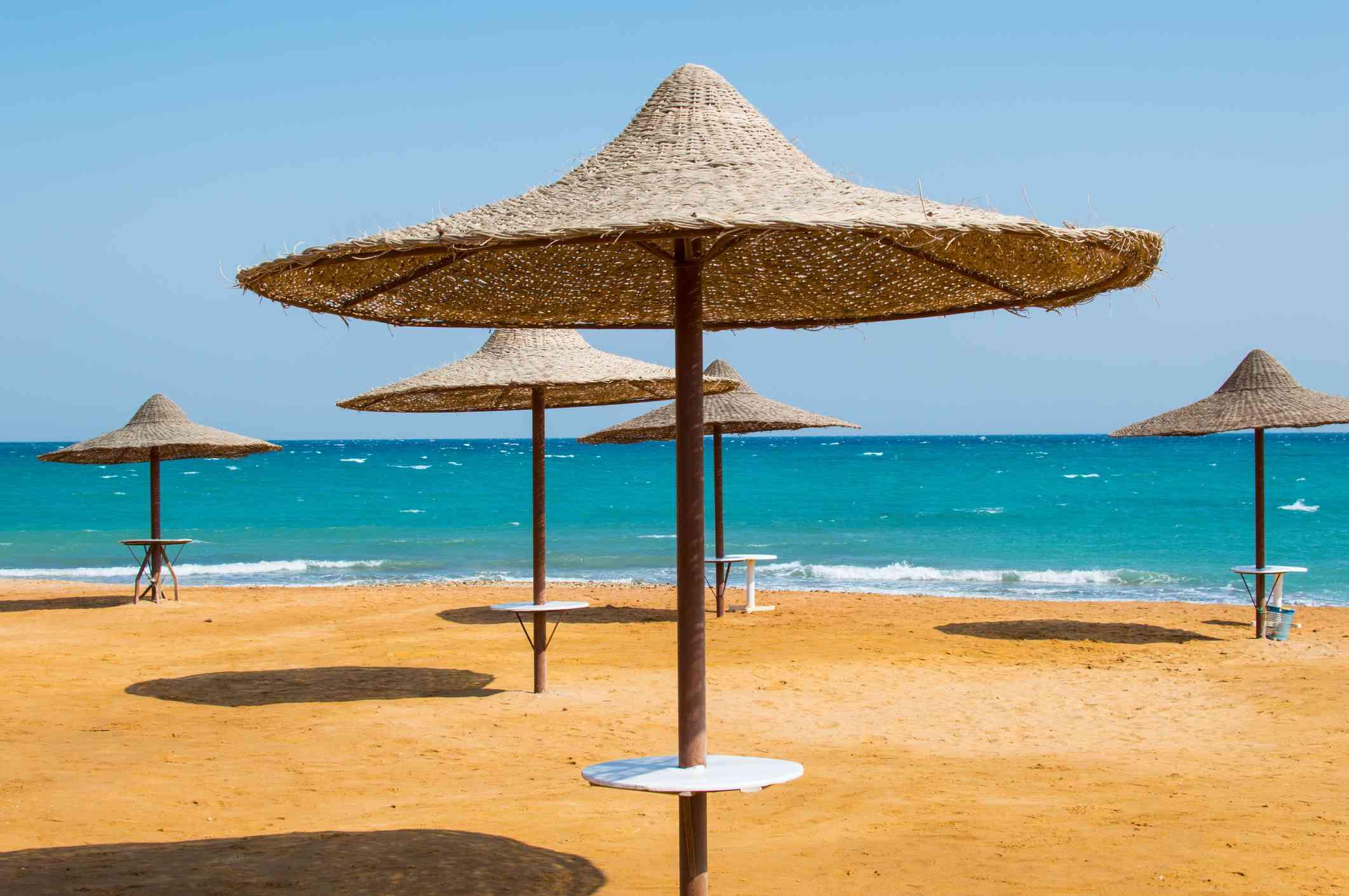 Umbrellas on the beach at Ain Sokhna, Egypt