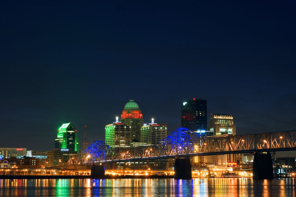 The US31 Clark Memorial Bridge lit up for crossing in to Downtown Louisville.