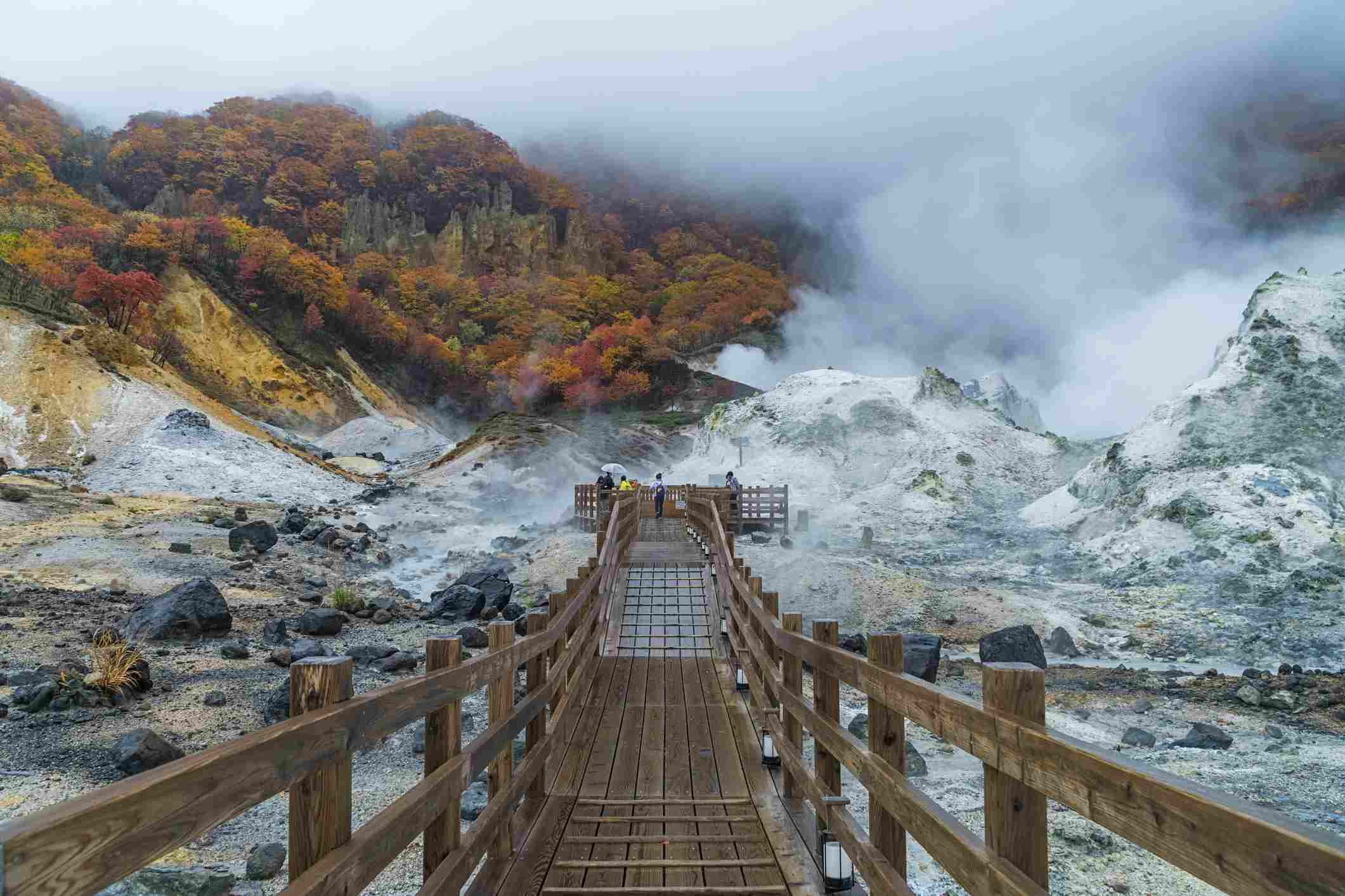 Noboribetsu Onsen in Autumn, Hokkaido, Japan