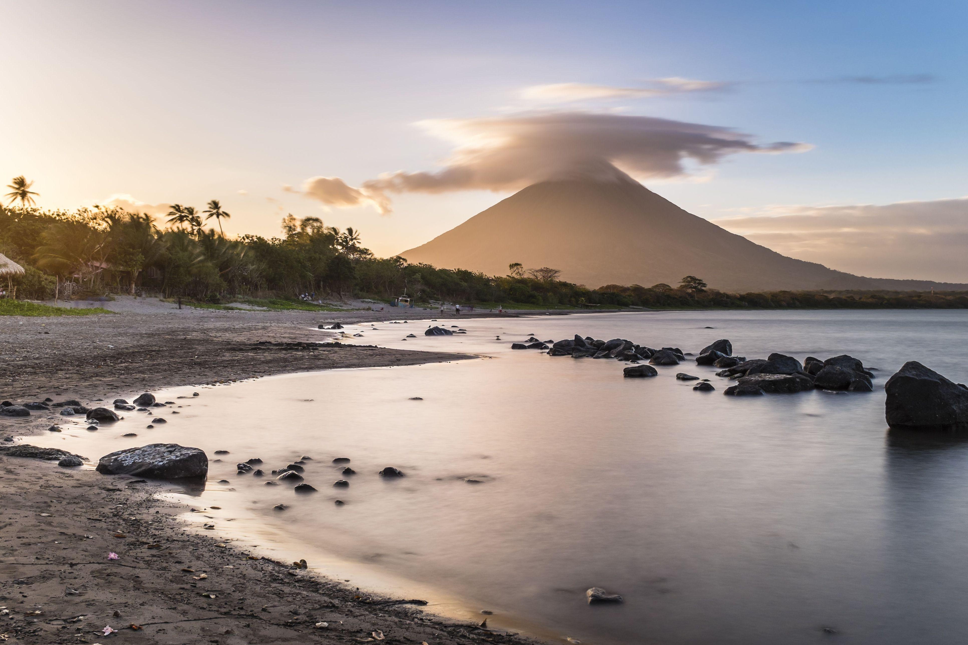 Nicaragua, Rivas department, Ometepe island, the shore of lake Nicaragua (lake Cocibolca), Santo Domingo beach and volcano Concepcion