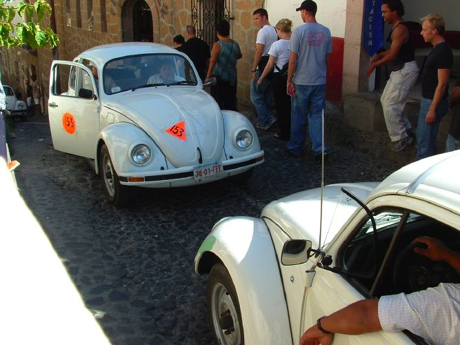 VW Bug Mexico Taxis Face Off in Taxco, Mexico