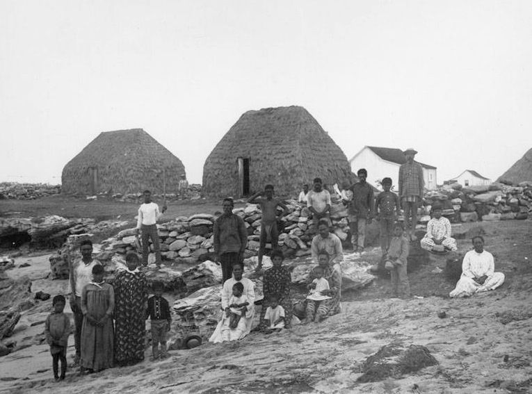 A group of men, women, and children on Puuwai Beach on Niihau, taken by Francis Sinclair in 1885.