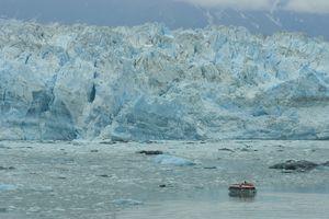 Boat near the Hubbard Glacier in Alaska.