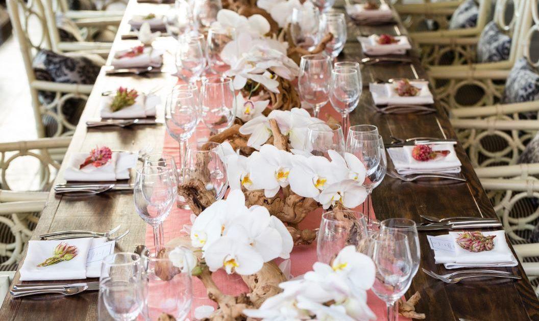 Thanksgiving dinner table at the Royal Hawaiian Hotel