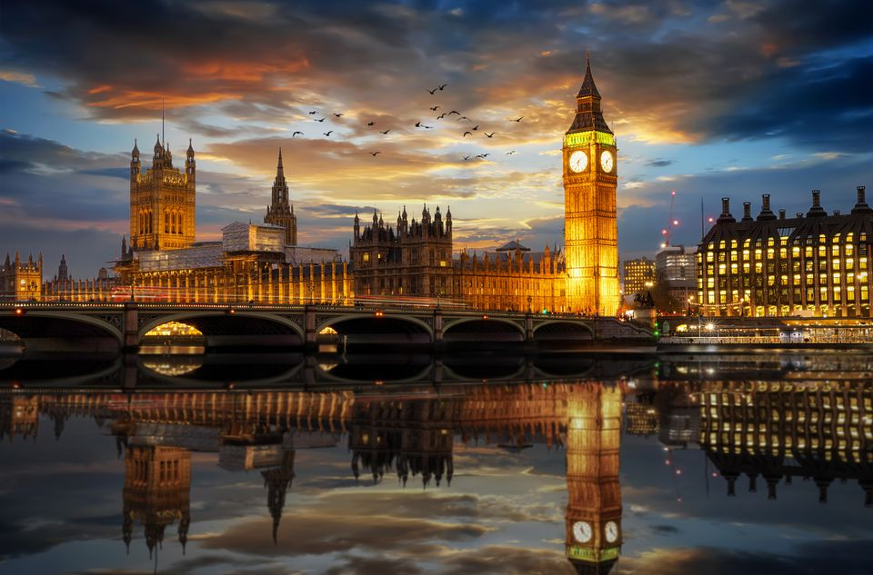 Westminster and Big Ben clocktower in London just after sunset