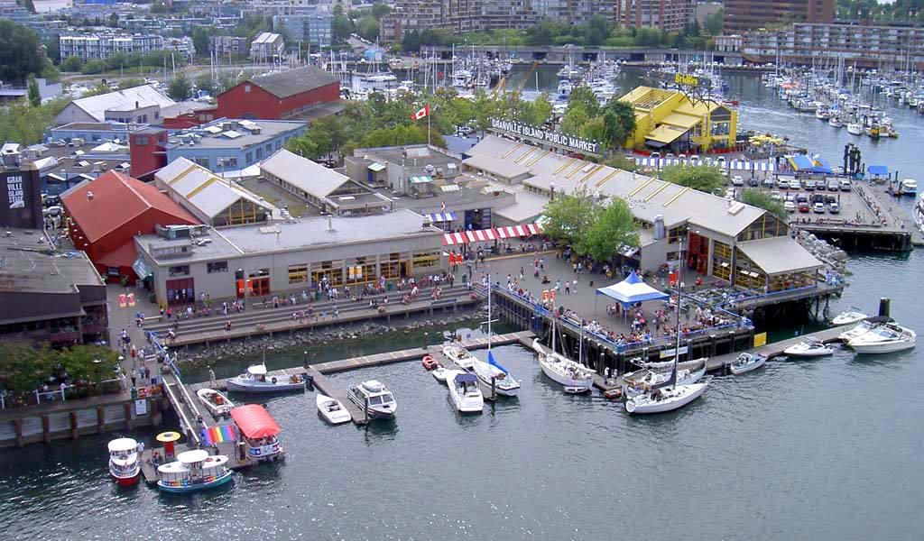 West side of Granville Island in Vancouver, including the Granville Island Public Market.